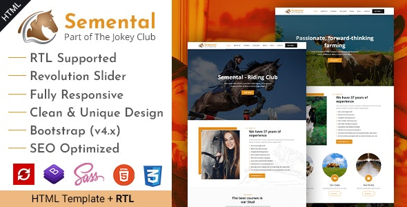 Semental | Stud Farms and Stables HTML Template - Business Corporate