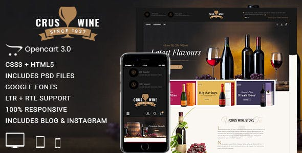 CrusWine - Responsive Opencart 3 Theme nulled theme download