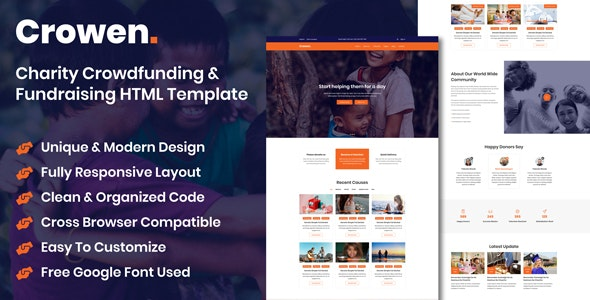 Crowen - Charity Crowdfunding & Fundraising HTML Template - Charity Nonprofit