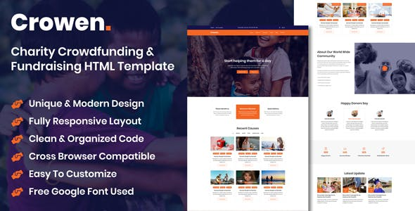 Crowen - Charity Crowdfunding & Fundraising HTML Template nulled theme download