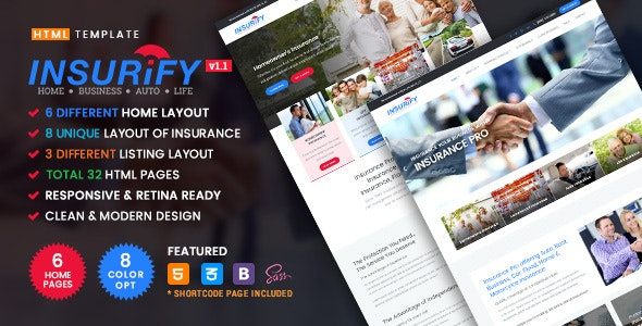 Insurify - Ultimate Template for Insurance Agency - Corporate Site Templates