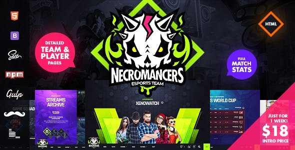Necromancers - eSports Team HTML Template nulled theme download