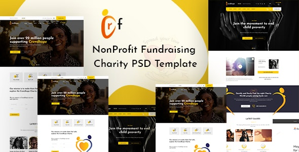 Crowdhope - Crowdfunding Charity PSD Template - Charity Nonprofit