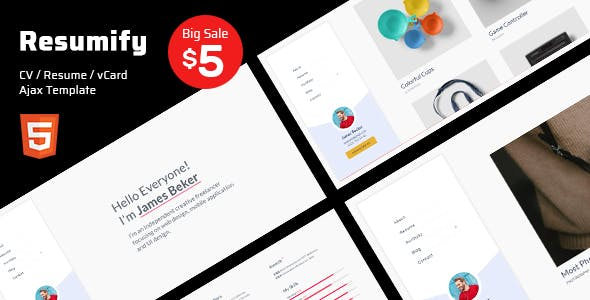 Resumify - Resume / CV / vCard Ajax Template nulled theme download
