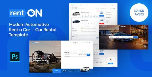 rentON Modern Rent a Car - Car Rental PSD Template - PSD Templates