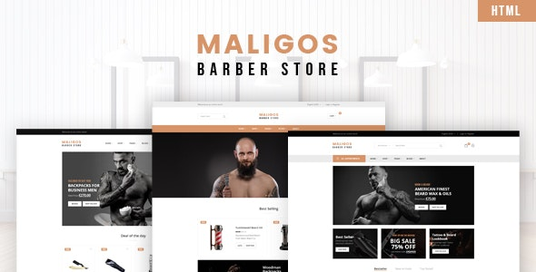 Maligos - Barber Store HTML Template - Shopping Retail