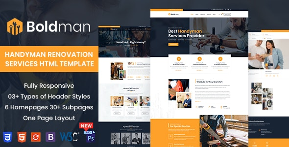Boldman - Handyman Renovation Services HTML Template - Business Corporate