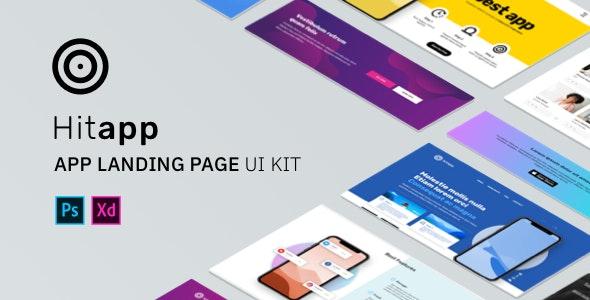 HitApp App Landing Page UI Kit - Creative PSD Templates