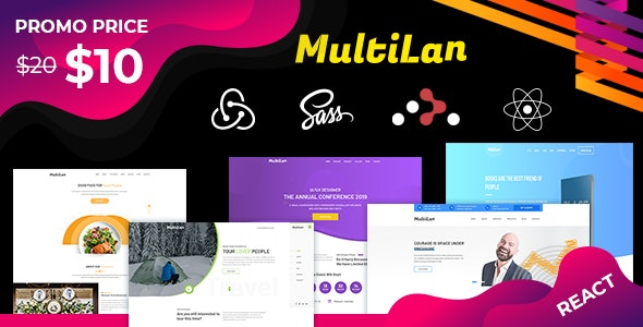 MultiLan || React & Redux - Multipurpose creative Landing Page Template - Creative Site Templates
