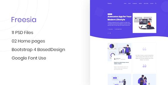 Freesia - Creative App Landing Page & Blog PSD Template - Creative Photoshop