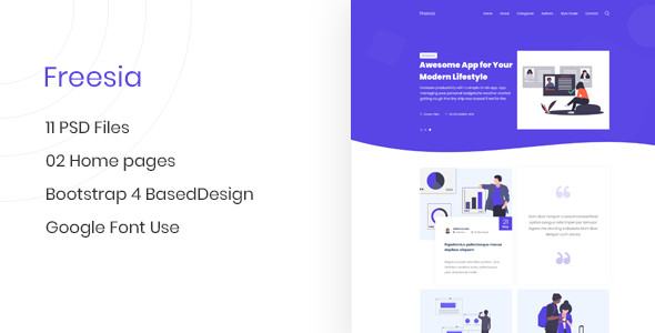 Freesia - Creative App Landing Page & Blog PSD Template - Creative PSD Templates