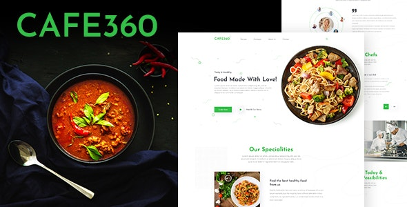 Cafe360 | Restaurant One Page PSD Template - Food Retail