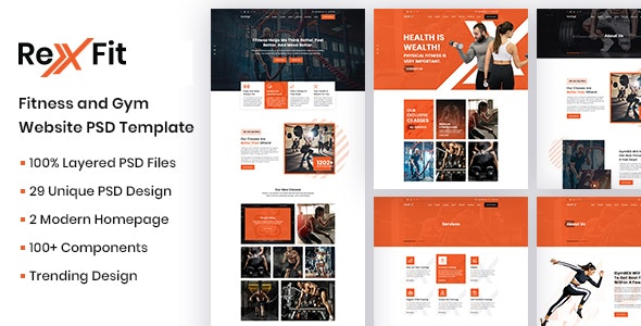 RexFit Fitness and Gym PSD Template - Health & Beauty Retail