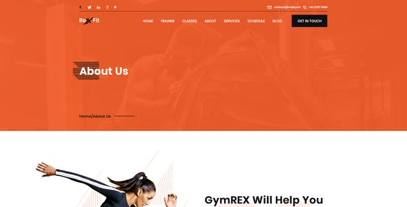 RexFit Fitness and Gym PSD Template