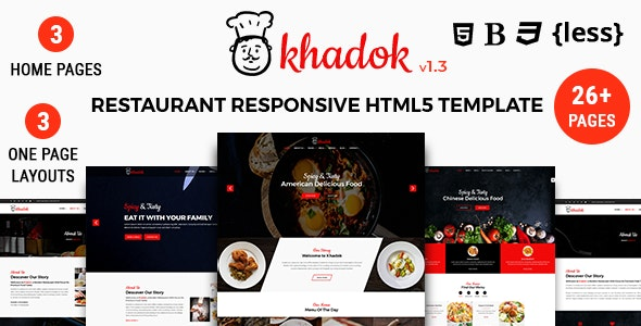 Khadok - Restaurant Responsive HTML5 Template - Restaurants & Cafes Entertainment