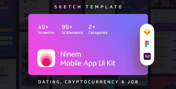 Ninem - Mobile App Ui Kit - Sketch Templates
