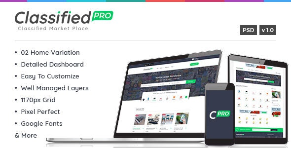 Classified Pro - Listing PSD Template - Corporate Photoshop