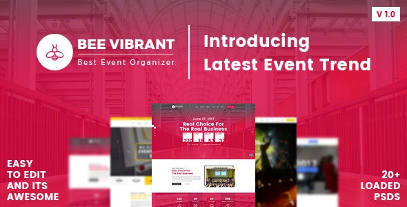 BeeVibrant - Event and Conference PSD Template - Events Entertainment