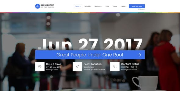BeeVibrant - Event and Conference PSD Template