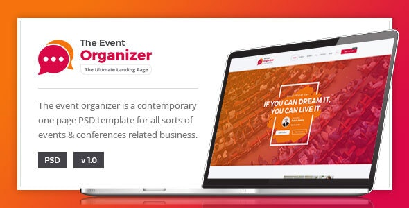 Event Organizer - Conference PSD Template - Corporate Photoshop