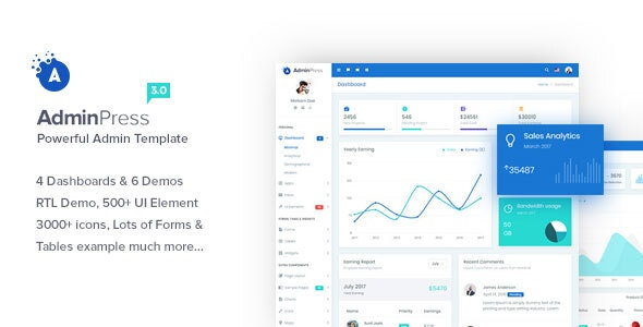 Admin Press - Ultimate & Powerful Bootstrap 4 Dashboard Template - Admin Templates Site Templates