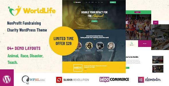 Worldlife - Crowdfunding & Charity WordPress theme nulled theme download