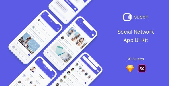 Susen - Social Network App UI Kit - Sketch Templates