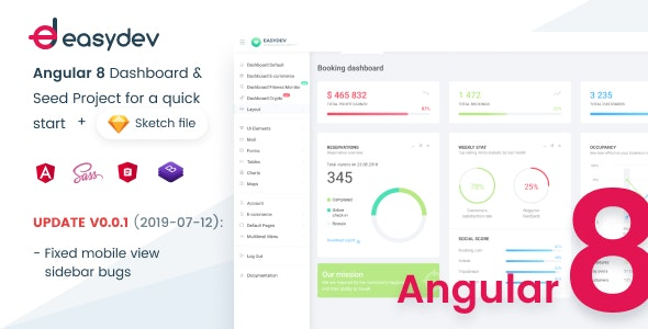 EasyDev-ng — Developer Friendly Angular 8 BS4 Admin Template + Seed Project - Admin Templates Site Templates