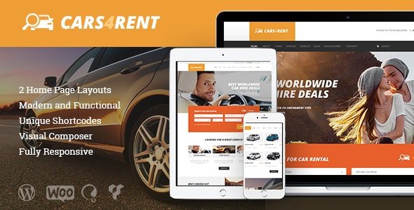 Cars4Rent | Auto Rental & Taxi Service WordPress Theme - Travel Retail