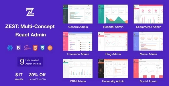 Zest: Multi-Concept React Admin Template by themepassion | ThemeForest