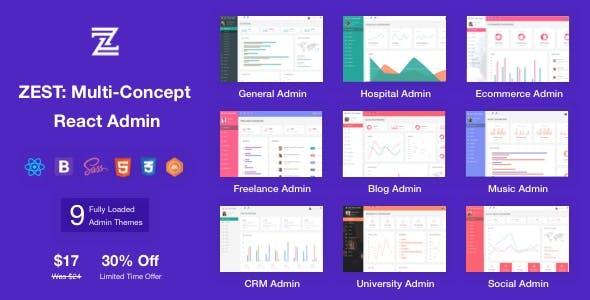 Zest: Multi-Concept React Admin Template