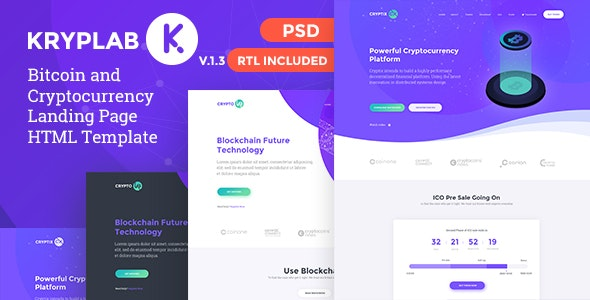 KrypLab - Bitcoin & Cryptocurrency Landing Page HTML Template - Technology Site Templates