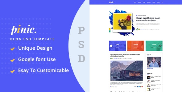 Pinic - Minimal Blog PSD Template - Retail Photoshop