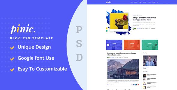 Pinic - Minimal Blog PSD Template - Retail PSD Templates