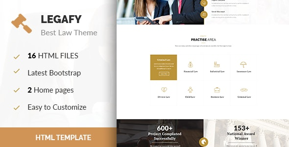 Legafy- Responsive HTML Law Template - Business Corporate