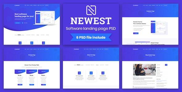 Newest - Apps Landing PSD Template - Software Technology