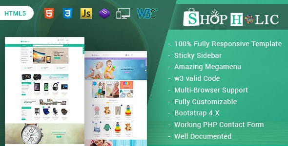 Shopholic - Responsive Multipurpose HTML5 Template - Retail Site Templates