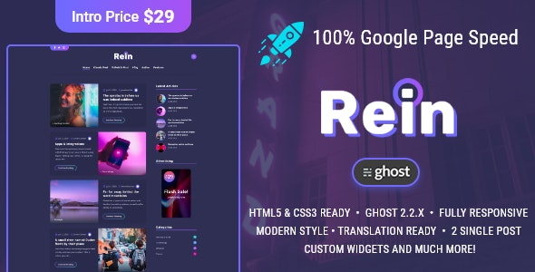 Rein - Minimal Dark Theme for Ghost - Ghost Themes Blogging