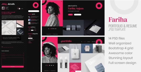 Fariha – Personal Portfolio & Resume PSD Template - Portfolio Creative