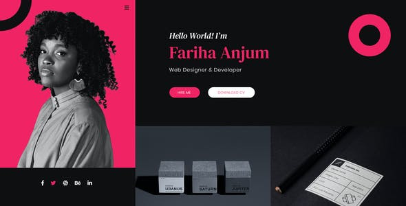 Fariha – Personal Portfolio & Resume PSD Template