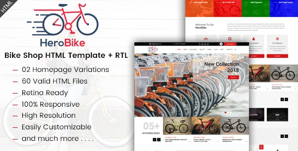 HeroBike - Bike Shop HTML Template - Shopping Retail