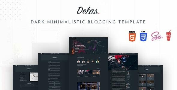 Delas - Dark Minimalist Blogging HTML Template - Creative Site Templates
