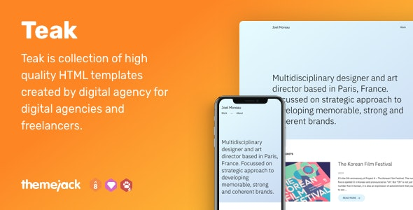 Teak — HTML Templates for Your Portfolio by Themejack_