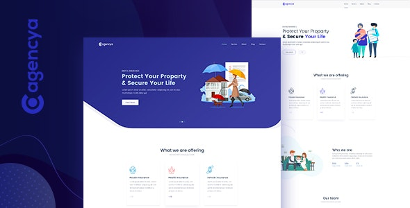 AGENCYA - Insurance Agency PSD Template - Corporate PSD Templates