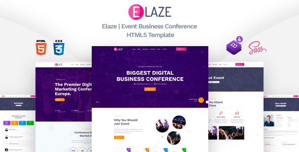 Elaze - Event Business Conference HTML5 Template by TechyDevs