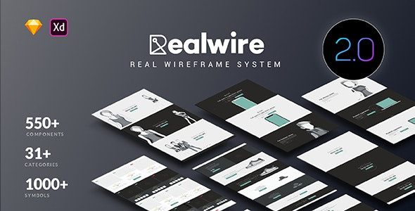 Realwire - Ultimate Wireframe Library Collection - Sketch UI Templates