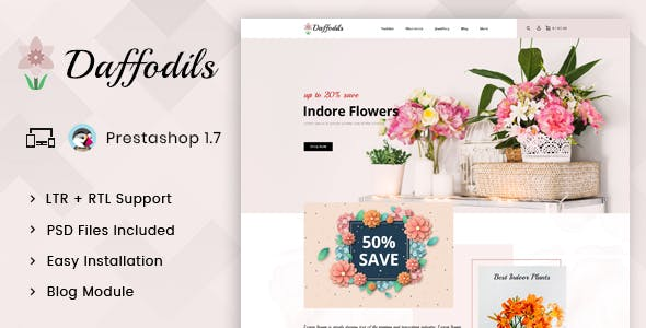 Daffodils - Flowers Store Prestashop 1.7 Responsive Theme nulled theme download