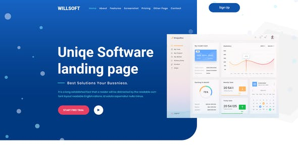 Willsoft - Software landing Page PSD Template