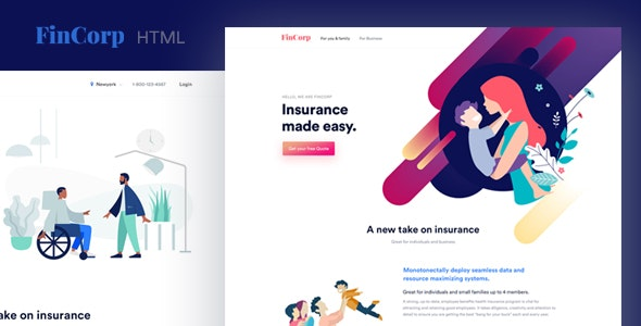 FinCorp - Finance, Insurance & Marketing Landing Page Template by surjithctly