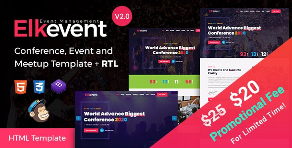 Elkevent - Conference and Meetup HTML Template - Events Entertainment